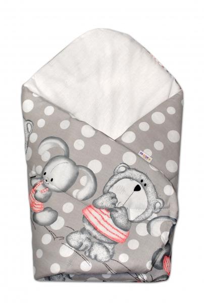 Novorozenecká zavinovačka Medvídek s králíčkem Bubble, 75x75 cm - šedá - Klasické