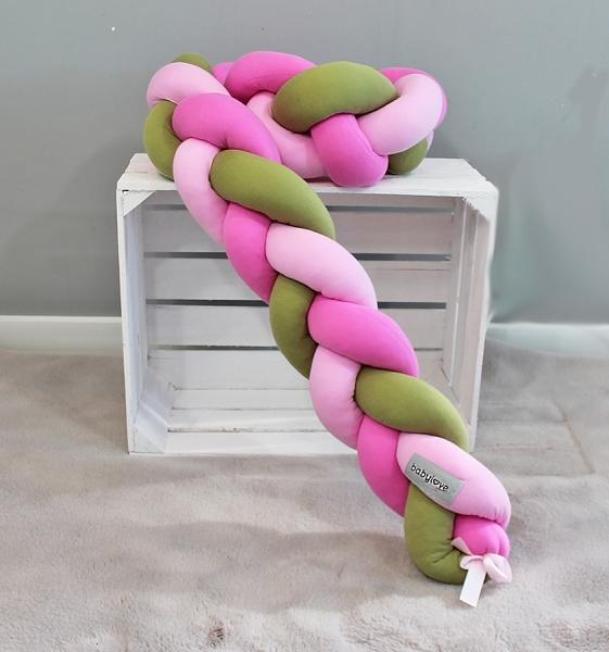 Mantinel Babylove pletený cop - zelená, sv. růžová, růžová - 200x16