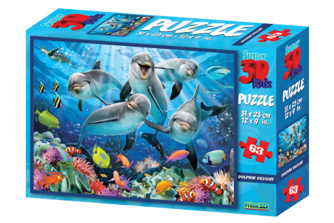 3D Puzzle Delfíni 63 dílků