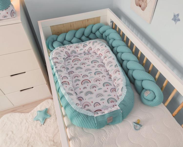 baby-nellys-oboustranne-hnizdecko-kokon-vafel-bavlna-lux-60-x-90-cm-duha-tyrkys