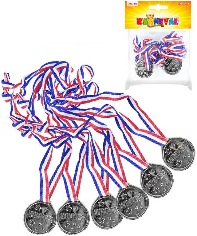 Medaile stříbrná na šňůrce trikolora set 6ks v sáčku plast