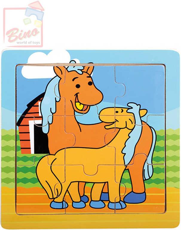 BINO DŘEVO Puzzle koníci 9 dílků baby skládačka 12x12cm v rámečku
