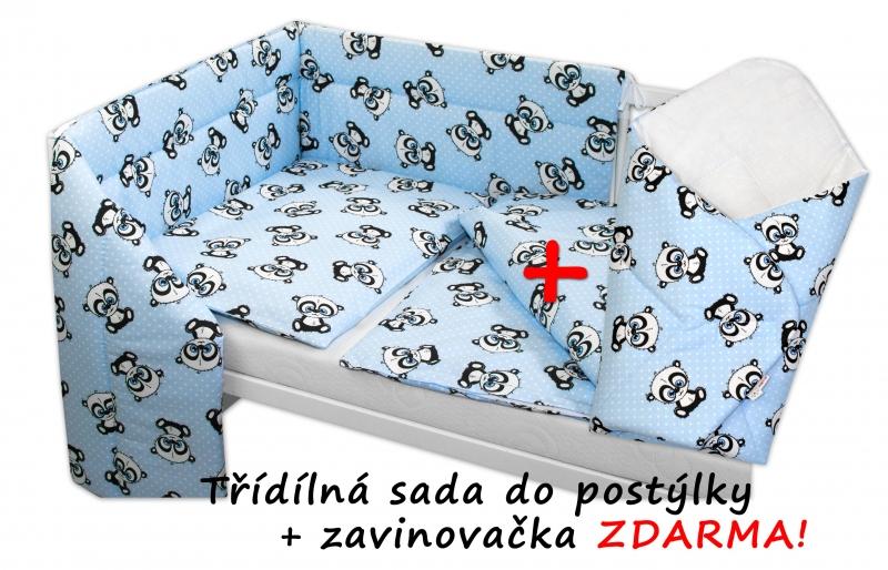 3-dílná sada mantinel s povlečením 135x100 + zavinovačka zdarma - Baby Panda, modrá - 135x