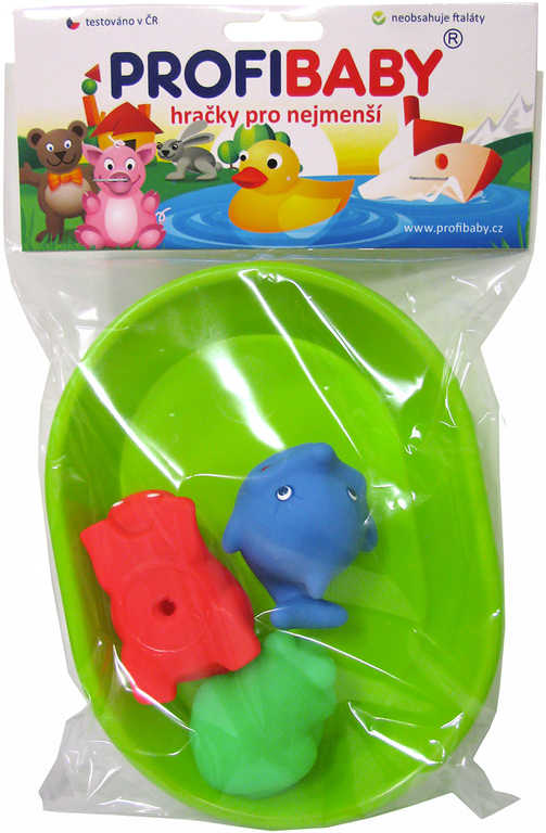 PROFIBABY Koupací set vanička + zvířátko gumové 3ks do vody 3 barvy v sáčku