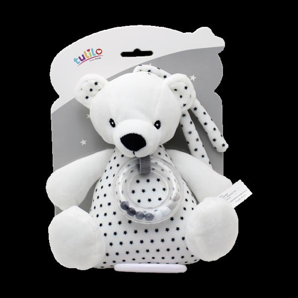 Závěsná plyšová hračka Tulilo s melodií a chrastítkem Medvídek, 18 cm - black&white