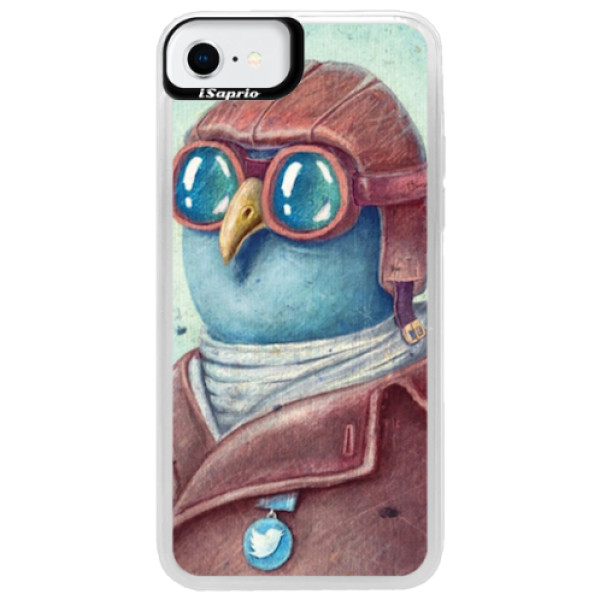 Neonové pouzdro Blue iSaprio - Pilot twitter - iPhone SE 2020