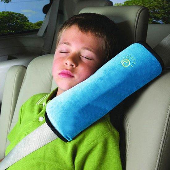 Cestovní polštář do auta na pás - modrý