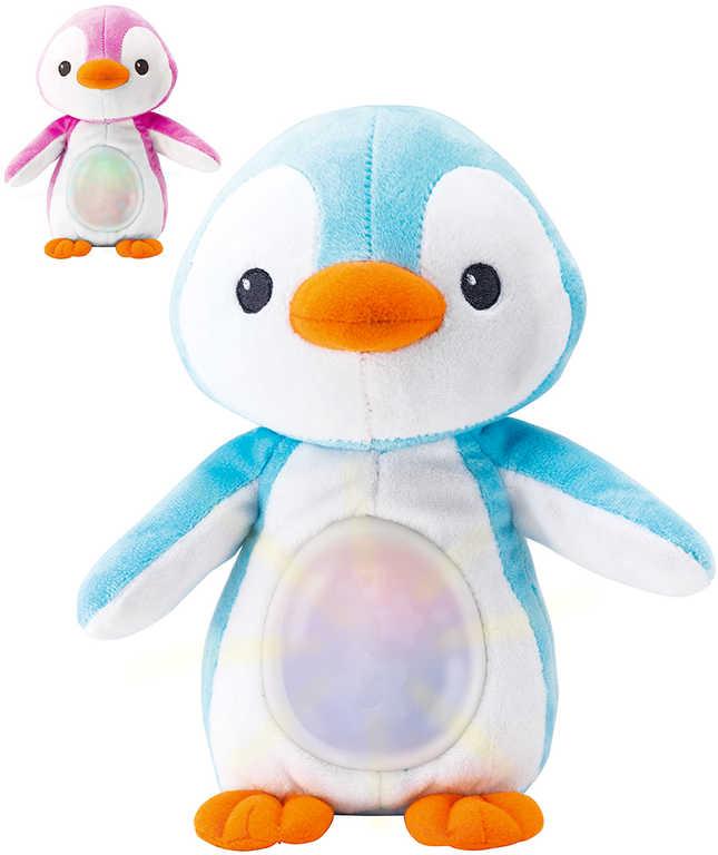 PLYŠ Baby tučňák 22cm usínáček s melodiemi na baterie Světlo Zvuk pro miminko