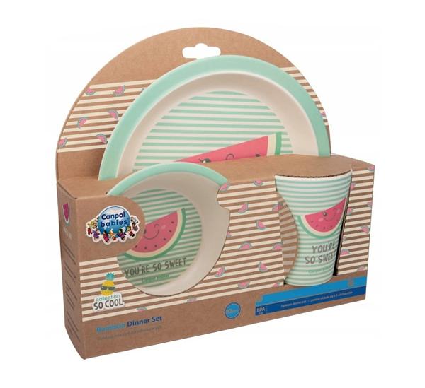 Canpol Babies Bambusová eko sada dětského nádobí 3 ks - Meloun