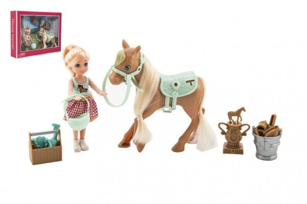 Panenka/žokejka 14cm kloubová s koněm