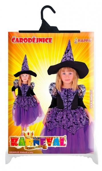 Karnevalový kostým čarodějnice/halloween fialová s rukávy, vel. M