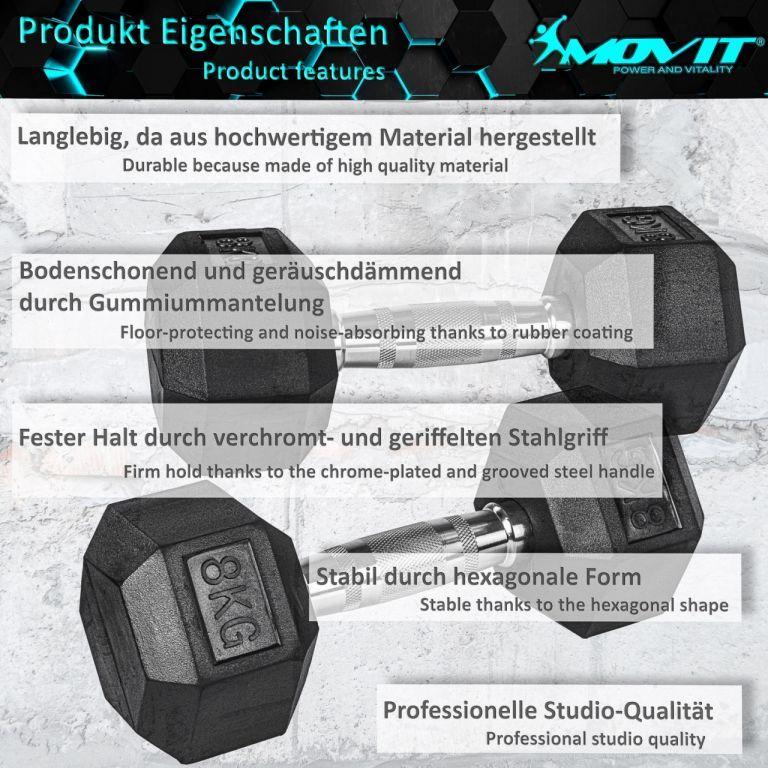 MOVIT® Šestihranná gumová činka 6 kg, sada 2 kusů