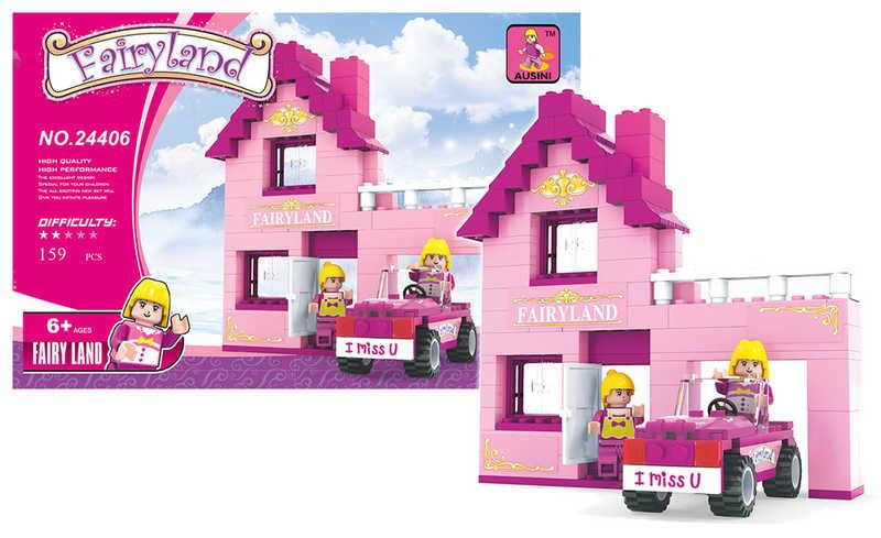 Stavebnice dům růžový s autem 159 dílů