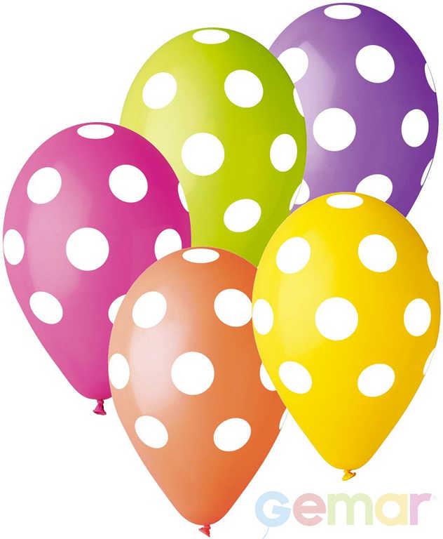 GEMAR Balónek nafukovací 30cm Pastelový potisk PUNTÍK BÍLÝ různé barvy 1ks