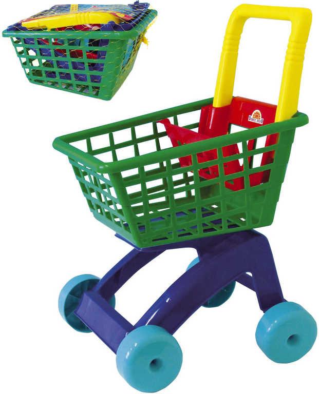 MAD Vozík barevný dětský nákupní košík 31x59x40cm plast