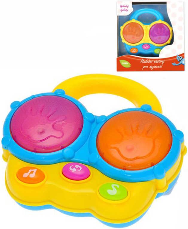 Baby bubny plastové na baterie 13cm Světlo Zvuk 2 barvy pro miminko