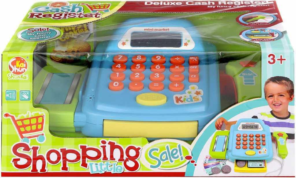 Pokladna modrá set s penězi a čtečkou zboží funkční kalkulačka na baterie
