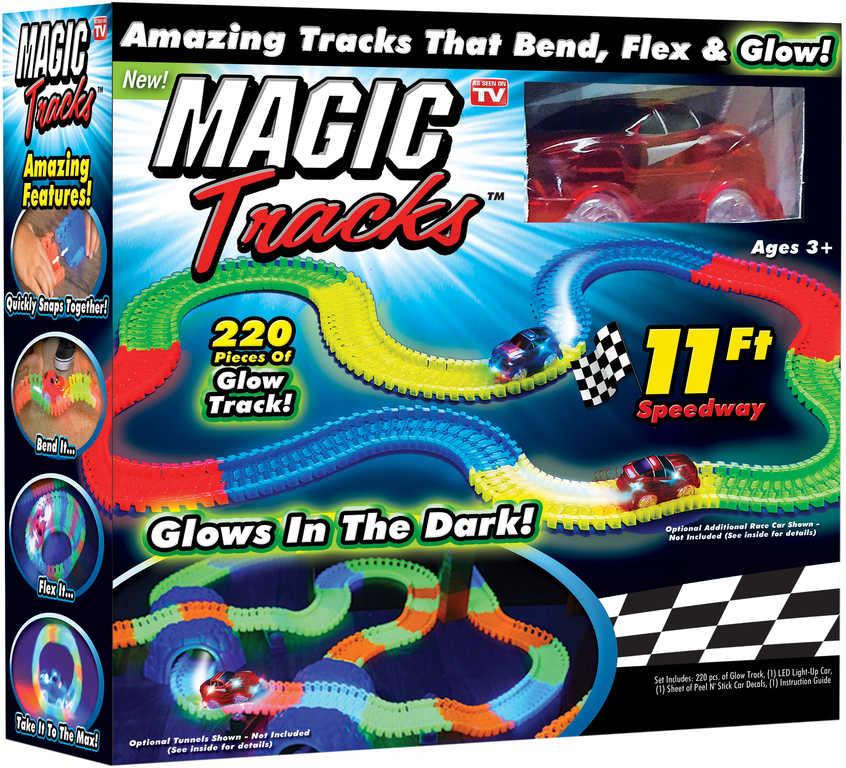 Magic Track Dráha magická svítící ve tmě set 220ks s autíčkem na baterie Světlo