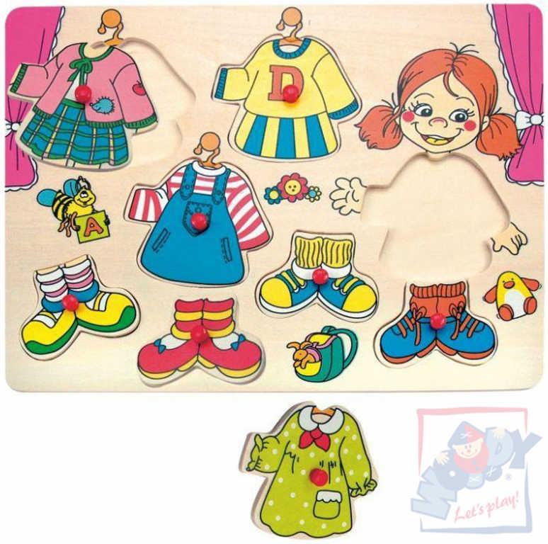 WOODY DŘEVO Oblékání na desce puzzle Carolina dřevěná vkládačka
