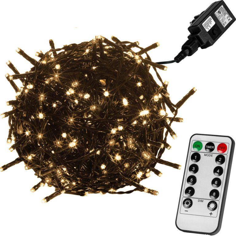Vánoční LED osvětlení 60 m - teple bílá 600 LED + ovladač - zelený kabel