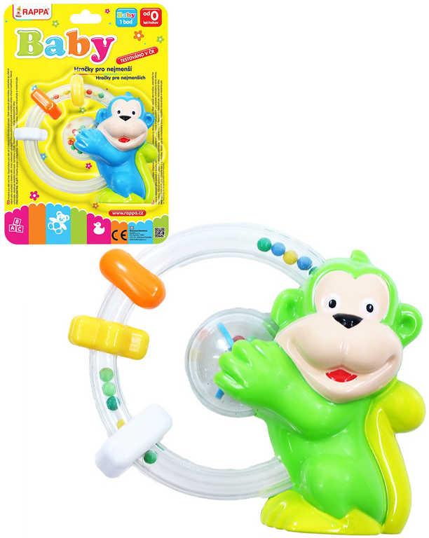 Baby chrastítko opice s kroužky a kuličkami pro miminko plast 2 barvy