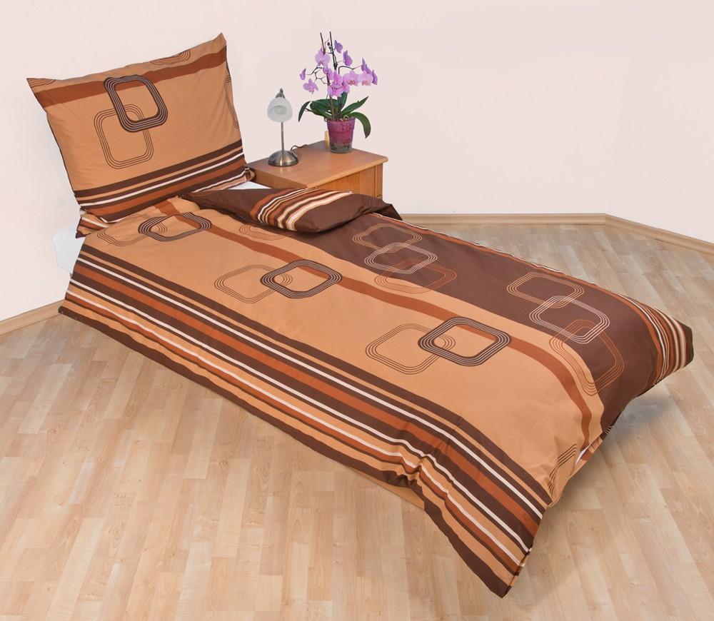 Přehoz přes postel dvoulůžkový Čtverce hnědé, Výběr rozměru: