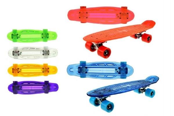 Skateboard se světlem 55cm nosnost 50kg asst 6 barev