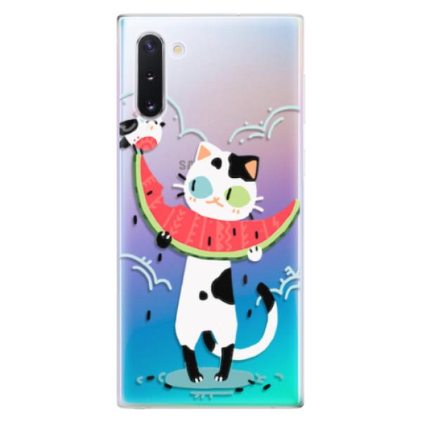 Odolné silikonové pouzdro iSaprio - Cat with melon - Samsung Galaxy Note 10
