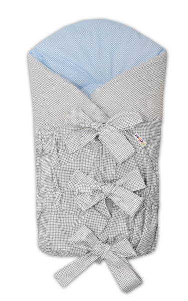 Zavinovačka šněrovací 75x75cm - šedá,modrá - jemná kostička