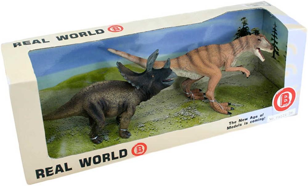 Dinosauři gumové zvířátko 20cm set 2 ks reálný vzhled v krabici