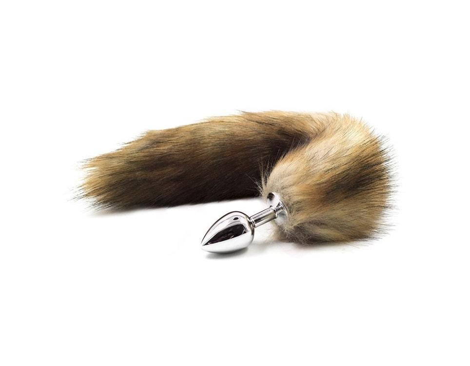 Kovový anální kolík s liščím ocáskem - hnědý