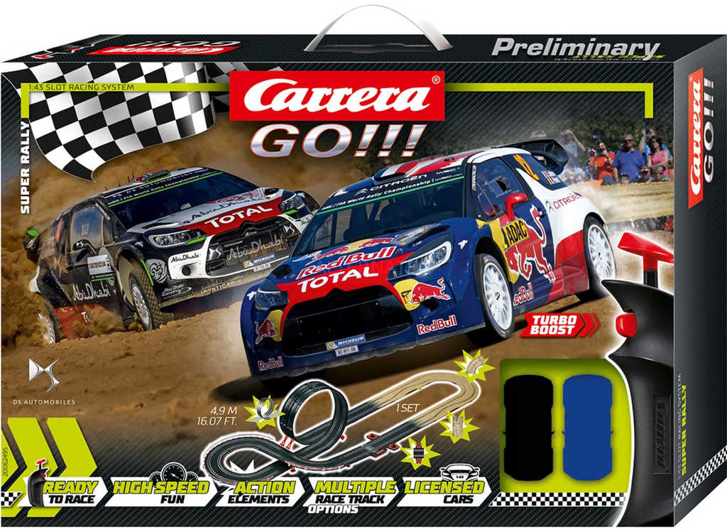 CARRERA Go!!! Super Rally autodráha 4,9m 2x auto Citroen DS3 WRC na trafo
