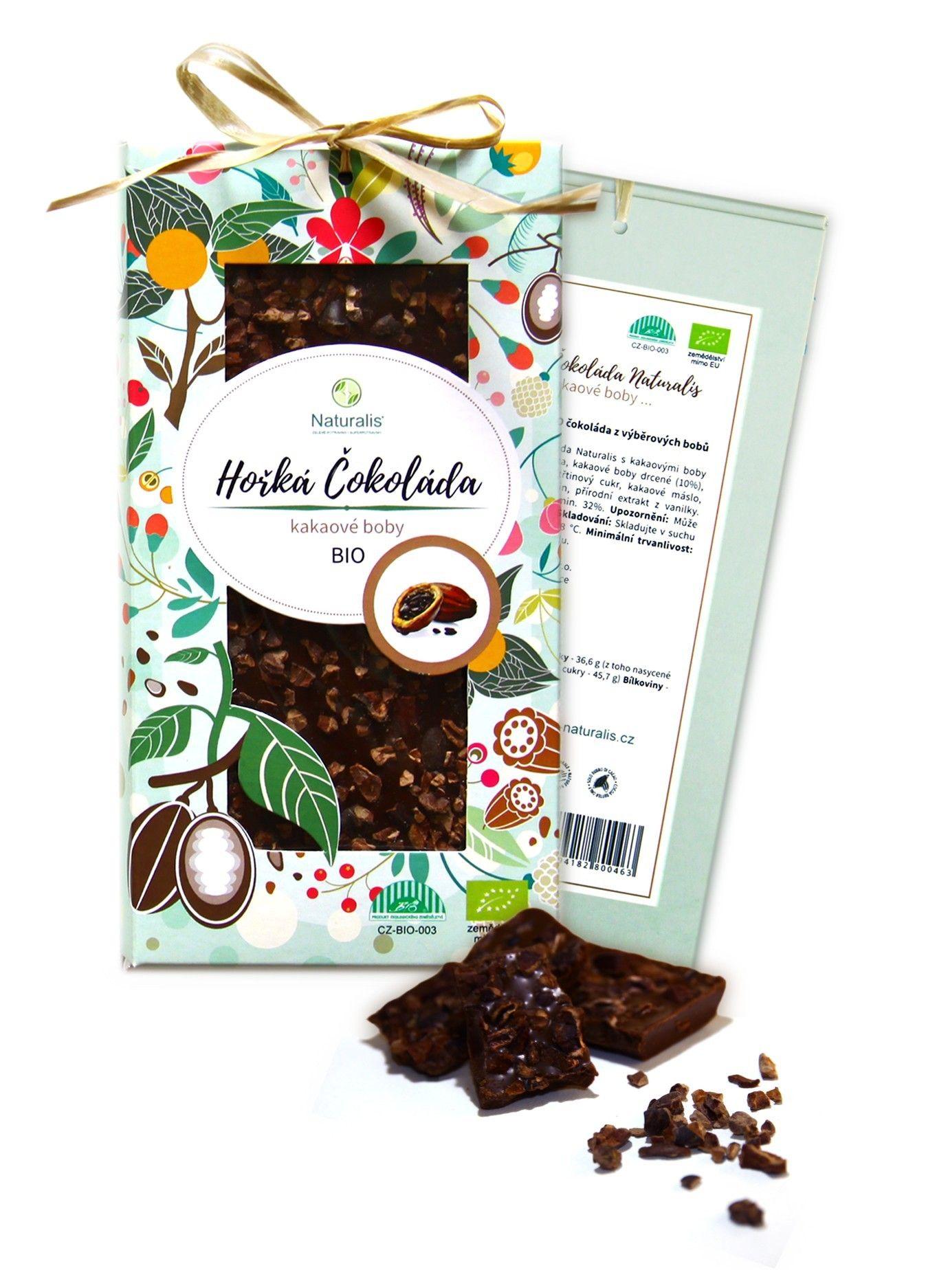 BIO Čokoláda Naturalis s kakaovými boby - 80g