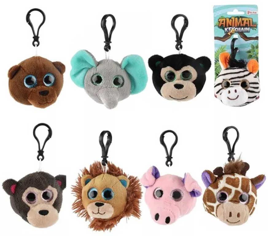 PLYŠ Přívěšek na klíče zvířátko safari ZOO klíčenka 8 druhů *PLYŠOVÉ HRAČKY*