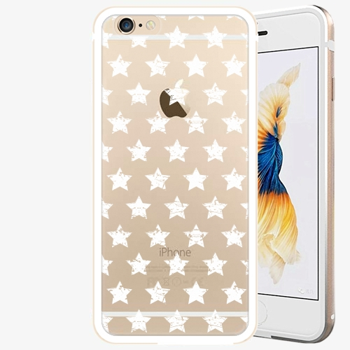 Plastový kryt iSaprio - Stars Pattern - white - iPhone 6/6S - Gold