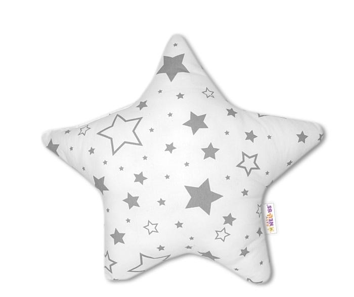 Hvězdička - dekorační polštářek - šedé hvězdy a hvězdičky