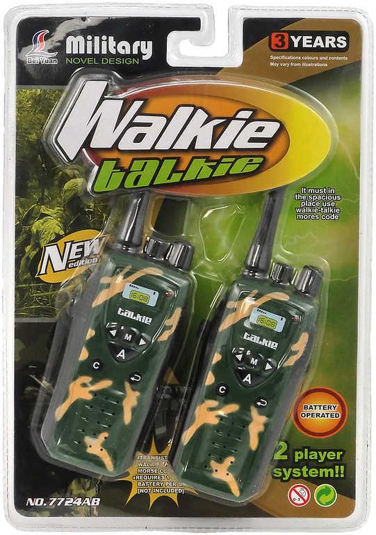Vysílačky dětské vojenské plastové set 2ks na baterie Světlo na kartě