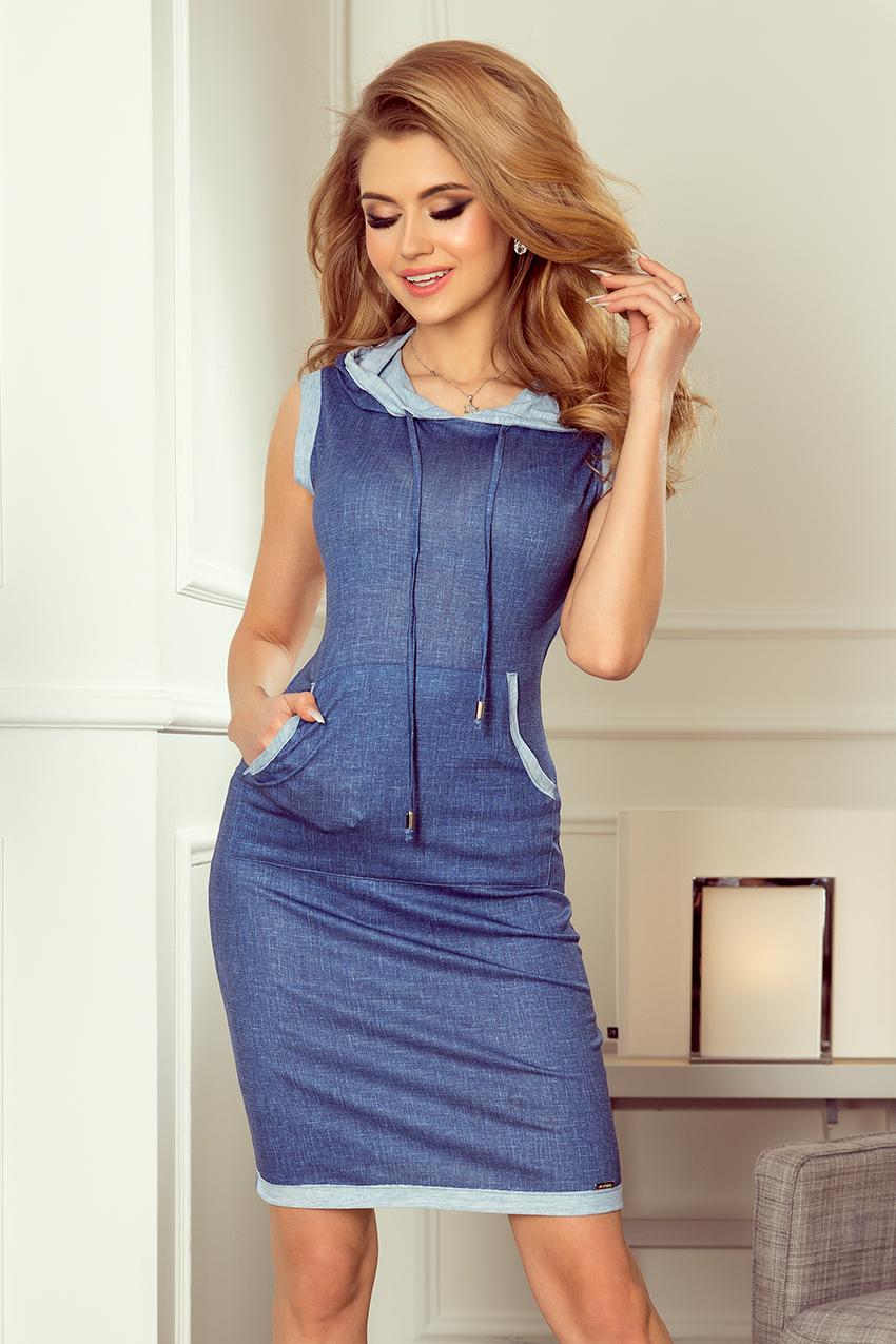 Dámské šaty ve světle modré džínové barvě s kapucí a klokaní kapsou model 5977338 - XL