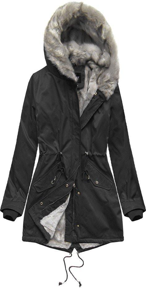 Černá bunda parka s kožíškem (B508)
