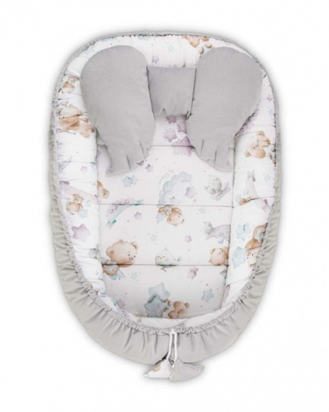 Belisima Oboustranné hnízdečko, kokon Velvet 55x75cm s polštářkem - Teddy, šedý