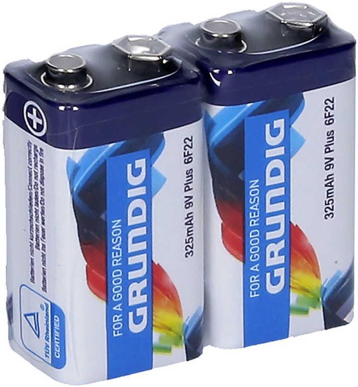 Baterie 9V Plus 325mAh 6F22 Zinc set 2ks Grundig
