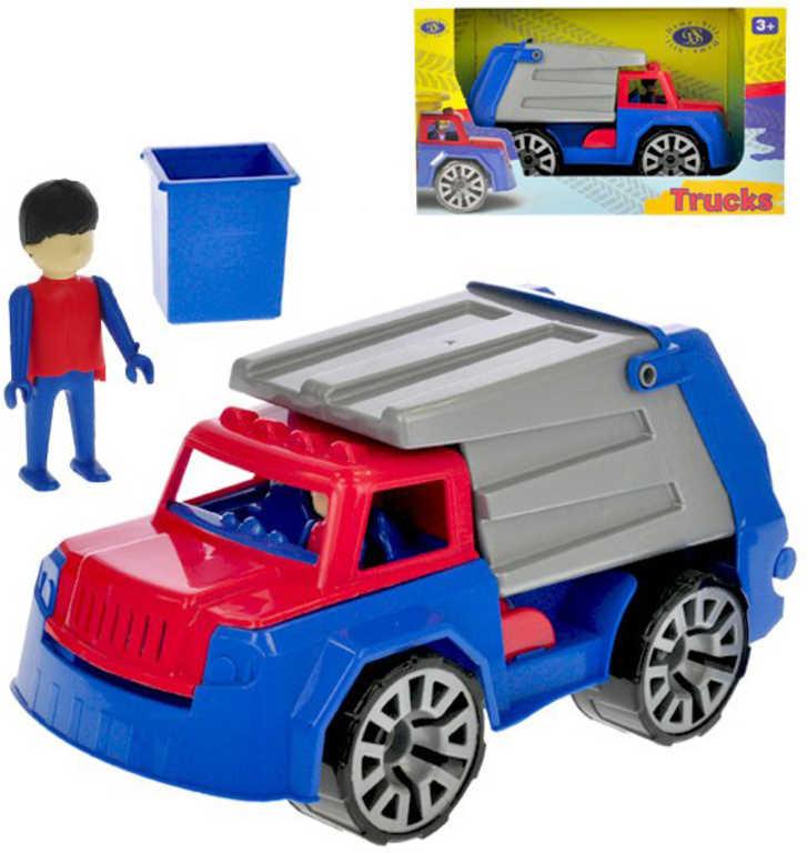 Auto barevné pracovní 32cm popeláři set s panáčkem v krabici plast