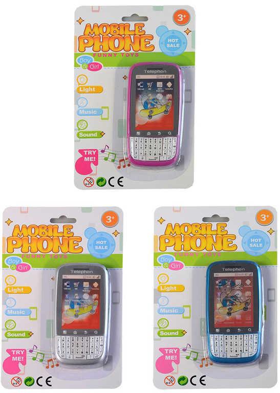 Telefon mobilní dětský holografický efekt na baterie s melodiemi Světlo Zvuk