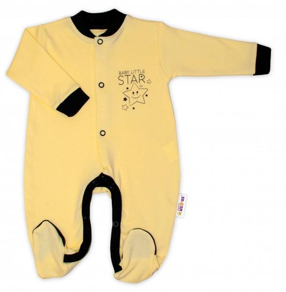 baby-nellys-bavlneny-overalek-baby-little-star-zluty-vel-74-74-6-9m
