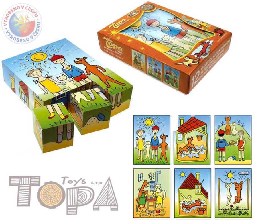TOPA DŘEVO Kostky (kubus) Pejsek a kočička 12 ks v krabičce *DŘEVĚNÉ HRAČKY*