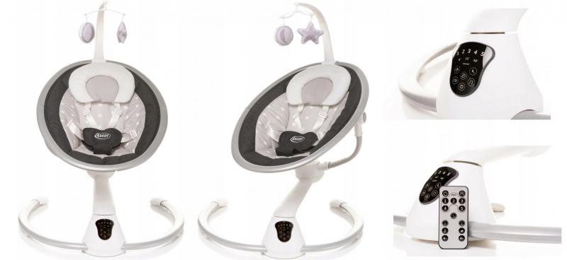 4 BABY Lehátko/houpačka pro kojence Grace 360°-grafitová