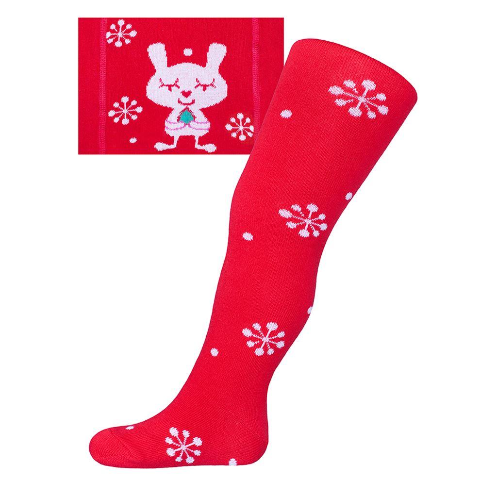 Vánoční bavlněné punčocháčky New Baby červené s vločkami a kočičkou - červená/104 (3-4r)