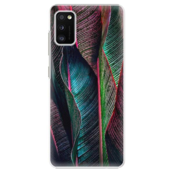 Plastové pouzdro iSaprio - Black Leaves - Samsung Galaxy A41