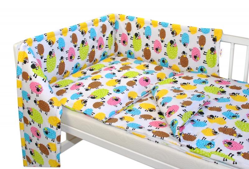 baby-nellys-3-dilna-sada-mantinel-s-povlecenim-barevne-ovecky-vel-135x100cm-135x100