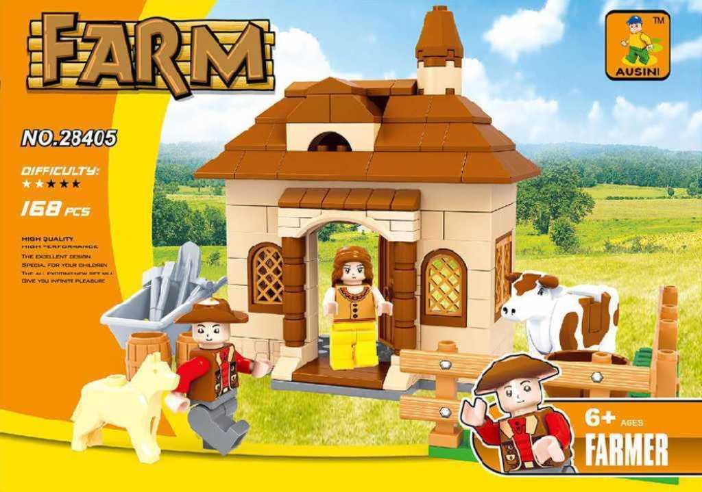 AUSINI Stavebnice FARMA domek 168 dílků + 2 figurky plast